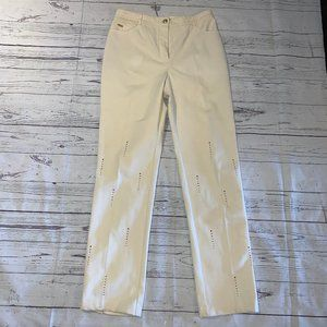 ST.JOHN Marie Gray Ivory Stretch Denim Pants w/ CZ